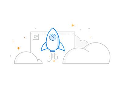 Weebly Publish Illustration clouds rocket publish site weebly illustration