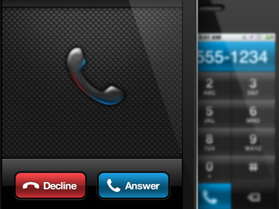 Incoming Call line2 incoming call dial pad phone accept decline red blue button carbon