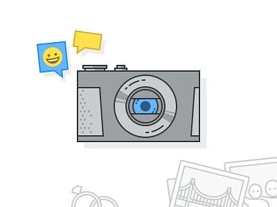 Illustrations talk capture diamond ring poloroid bridge emoji chat camera photos illustrations weebly