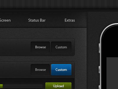 Theme Builder V2 ui interface blue green grey black iphone theme builder