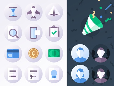 Fun icon set card credit coin money sign document search phone paper plane illustrations icons