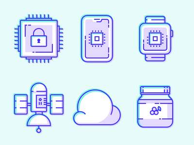Neon Icons satellite mobile iphone green purple illustration icon grapes jar jam phone watch chip secure cloud icons neon