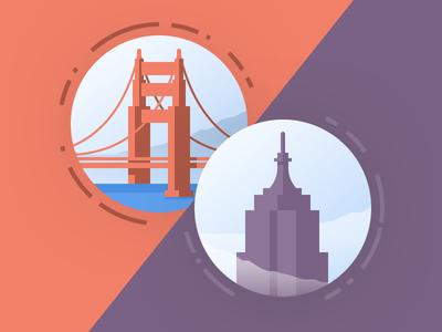 City Illustrations / Icons purple orange shadow flat illustration icon new york san francisco ny sf