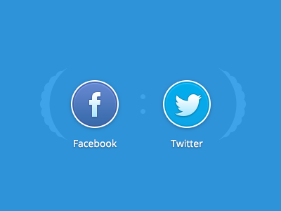 Social Connect connect facebook twitter button blue