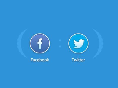 Social Connect connect facebook twitter button blue