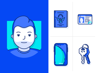 Avatar & personal items illustrations/icons vector illustration fun art bold bright colorful illustrations icons keys phone iphone cell phone drivers license license id passport man person profile avatar