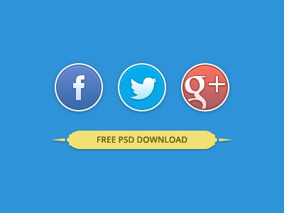 Rounded Social Buttons PSD Download free download psd social twitter share facebook g google round circle
