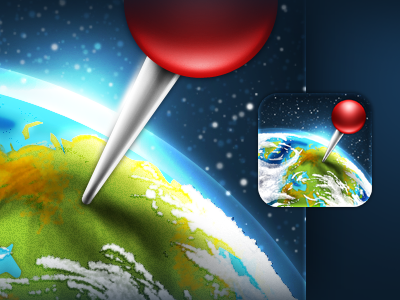 Pushpin iPhone 4 Icon icon iphone4 iphone pushpin globe world space blue red green
