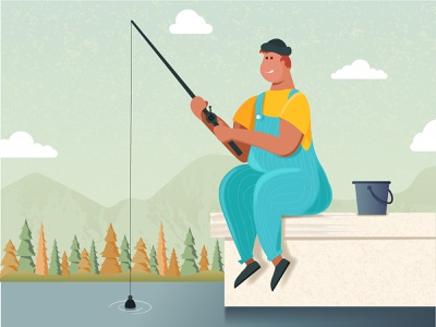Sitting on the edge of the lake and fishing character fish fishing vector art design illustration