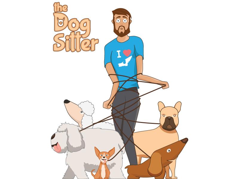 the dog sitter character design funy illustration 2d sitter dog sketch drawing