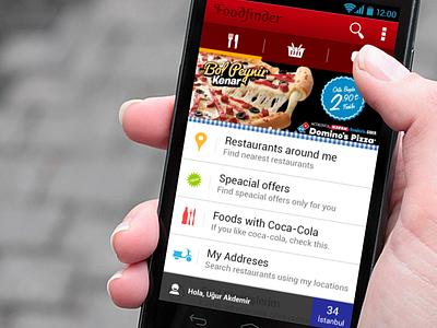 Food finder android food main menu table view tab menu app mobile app