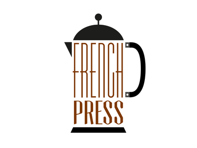 French Press french press coffee typography brown