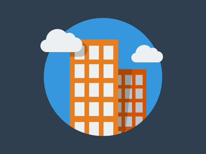 Enterprise flat icon flat design blue orange cloud enterprise icon design