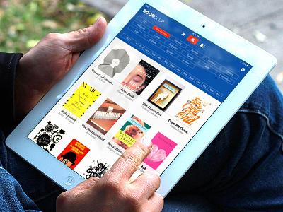 BookClub iPad App ipad book shelf flat design blue flat