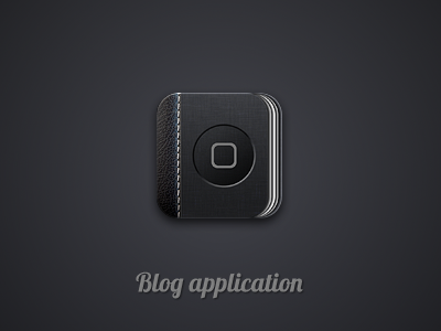 Blog App Icon iphone ipad appicon icon blog book notebook black gray dark leather