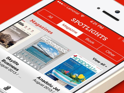 Skylibrary iphone ui red magazine app book app library app ios7