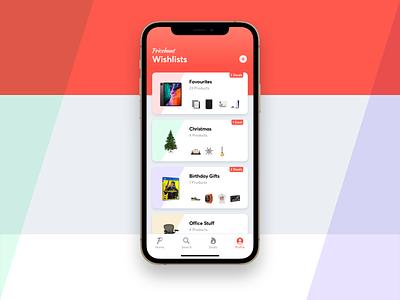 Wishlist App Concept UI concept design product listing products wishlist mobile ux design ui iphone