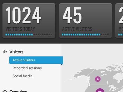 Visitor count analytics visitor gray black dark condensed