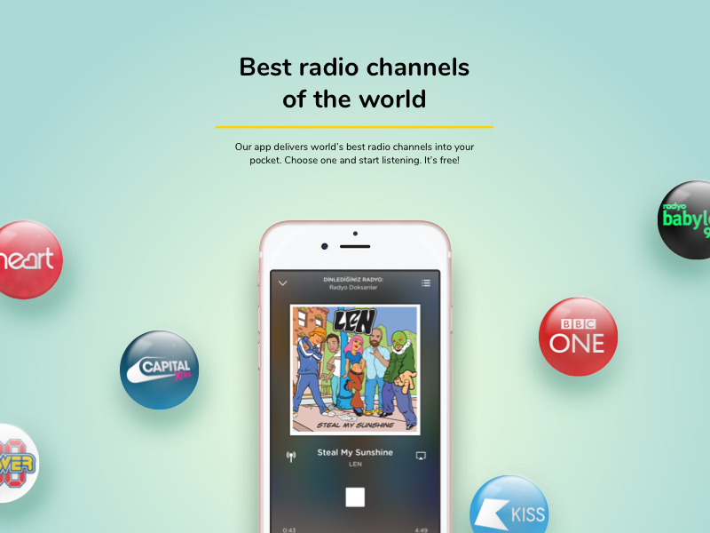 Radio app presentations. ios radio mobile app iphone