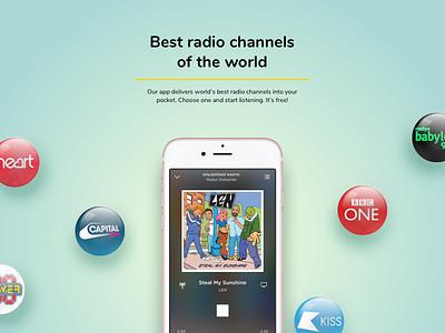 Radio app presentations. ios radio mobile app iphone