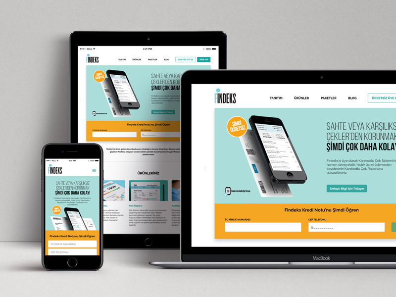 Findeks Responsive Website mobile orange green corporate website responsive