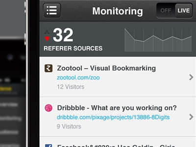 Referer Sources 8digits iphone web monitoring gray helvetica