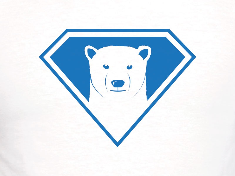 Arctic Hero logo polar bear bear blue hero