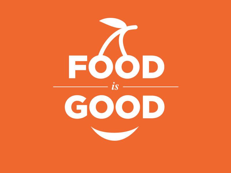 Food-is-Good food orange logo typography motto cherry smile