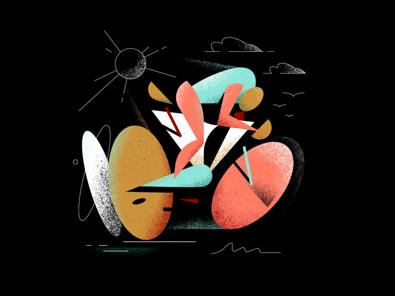 Heavy Pedal character design sports sport shapes shape drawing speed fast sun texture grain cycle illustration bikes biker ride bicycle bike