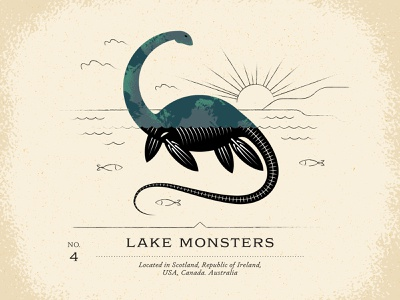 Lake Monsters bone skeleton myth wave cloud design world cryptid ocean water texture illustration fish set sun swim dinosaur creature monster lake