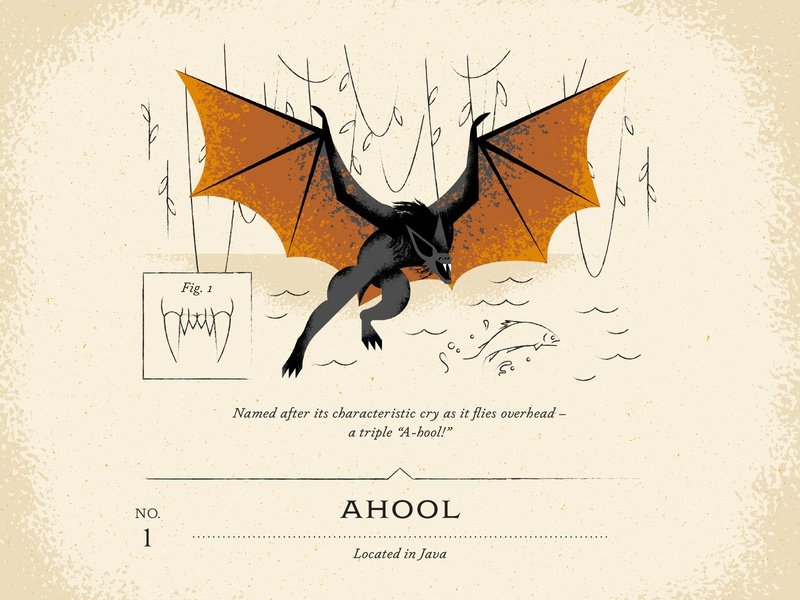 Ahool leaf vine water wave drawn draw hand brush texture bats fish bite flying fly cryptid fang teeth animal wing bat