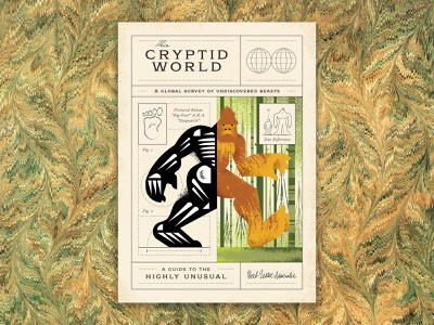 This Cryptid World vector skeleton map guide marbling marble beast tree forest brush texture illustration animal science globe foot big sasquatch creature monster