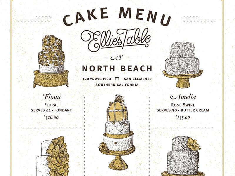 Cake Menu cake cafe bakery flower floral rose swirl beach frosting food