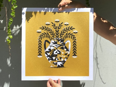 When In Rome - Print shot illustration paper marble kneel printing screen gold break geometric brush texture ceramic bloom water pot flower drink vase print