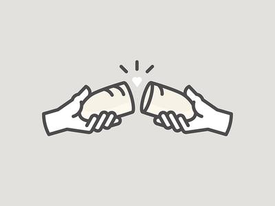 Share mono break bread hands hand heart line share care wealth enjoy