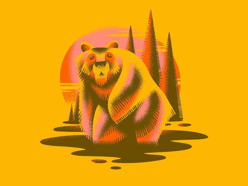 Sun Bear cub nature animal ipad drawing cloud stipple grain illustration draw set water mud fur fuzz procreate brush tree sun bear