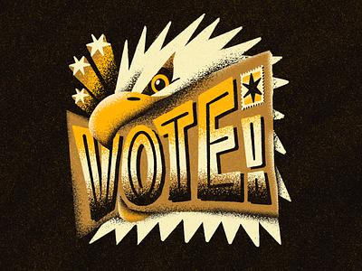 VOTE! type typography delivery harris biden grain texture procreate illustration star stamp mail fly bird eagle 2020 election democrat democracy vote