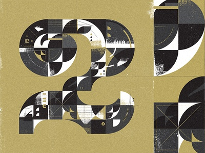 Typefight typography type collage illustration form letter number two 2