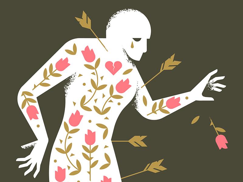 The Gay Saint person figure character vector brush texture leaf flower rose broken heart arrow