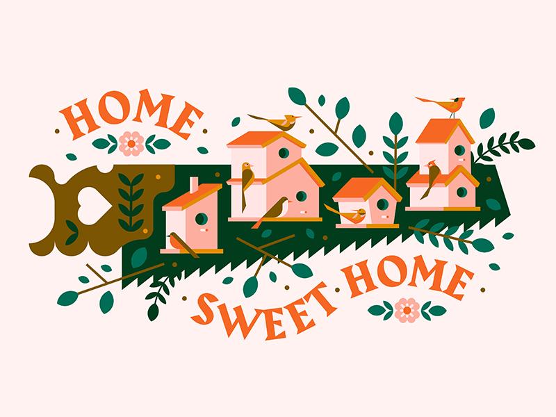Home Sweet Home hand tree leaf plant flower house bird saw home