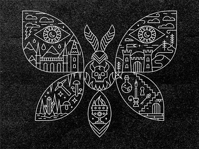 Creeper goblet potion eye rock mushroom skull lightning castle night moon dungeon moth