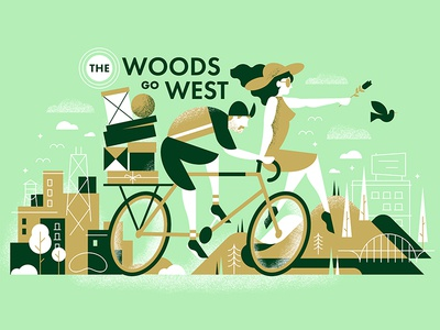 The Woods Go West box flower bean bridge tree portland chicago city character bird bicycle