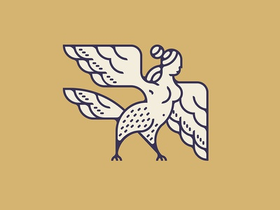 Harpy legend myth hair line logo figure fly wing woman lady bird harpy