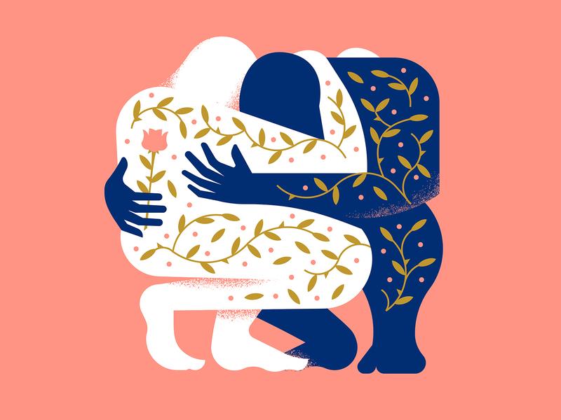 🌹 love heart illustration brush grain texture person hand character figure leaf flower rose vine