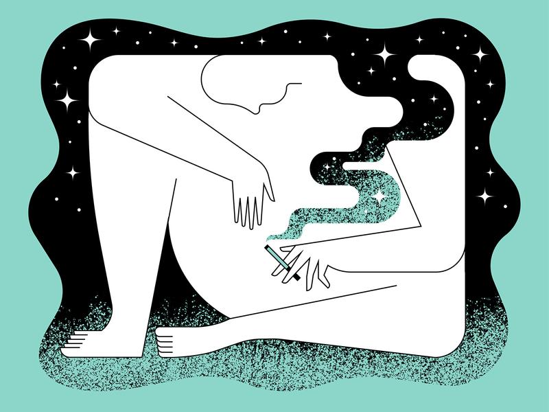 Smoke Break foot hand illustration brush grain figure character weed cigarette smoke cloud night star texture