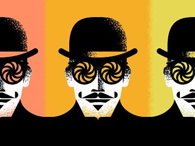 Mascot illustrator brush eye glasses swirl twist vintage retro texture grain illustration mascot figure character man mustache har bowler