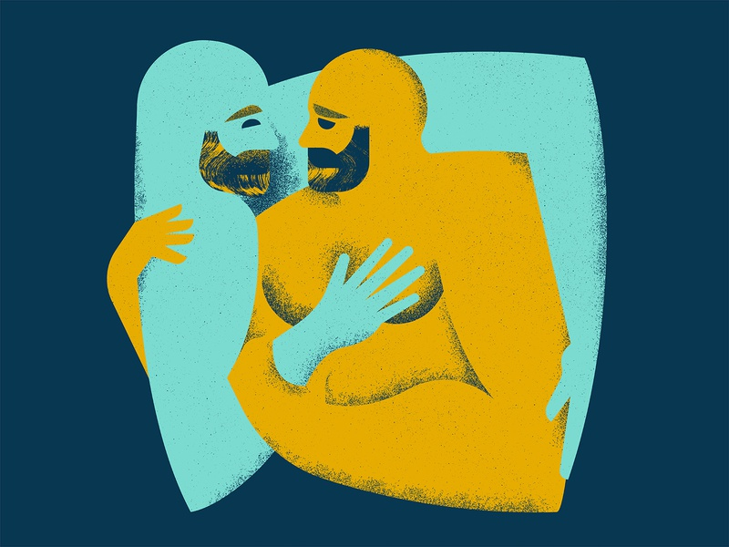 Hugs brush grain texture illustration lgbtq hug mustache eye hand hair beard gay nake love figure character