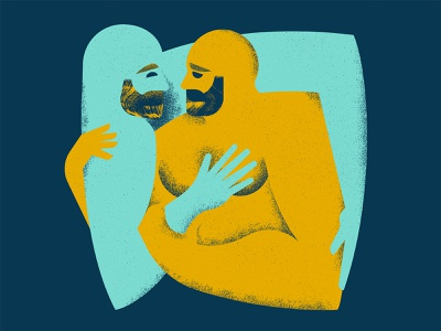 Hugs brush grain texture illustration lgbtq hug mustache eye hand hair beard gay nake love figure character