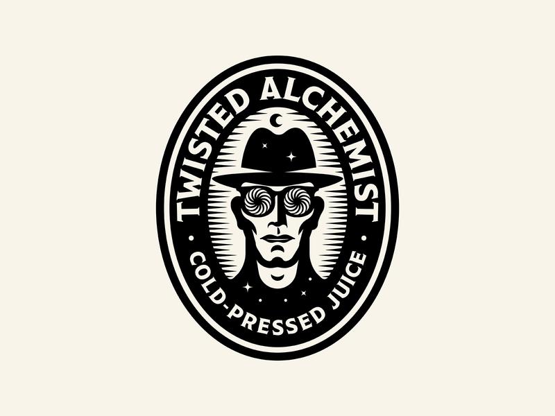Twisted Alchemist badge illustration character figure logo eye glasses moon juice portrait brand identity beverage twist swirl star