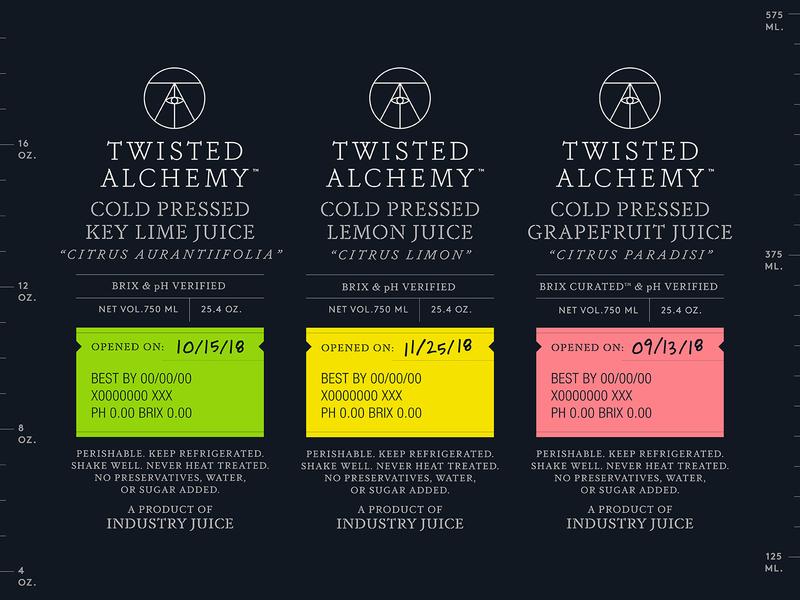 Twisted Alchemy Labels mixer alcohol beverage drink label tag bottle brand identity logo juice lemon lime grapefruit fruit liquid packaging package industry eye